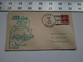 Home Treasure Postal Cover Envelope 1934 Postmark USS Portland Maine Ship Blue - $9.49