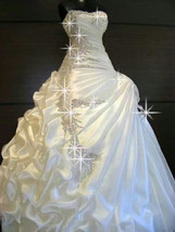 Extravagant Crystal Beaded Ruffles Sweetheart Ball Gown Princess Wedding... - $499.99