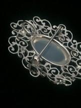 Vintage 50s Van Dell Opalite/Rhinestone Oval Brooch/pendant and Earrings Set image 5