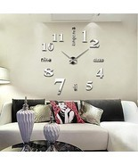 Large DIY Wall Clock Frameless 3D Mirror Surface Wall Clock Creative Mut... - $26.95
