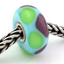 Authentic Trollbeads Green / Purple Triangles 61367 Retired Bead Charm, New - $18.99