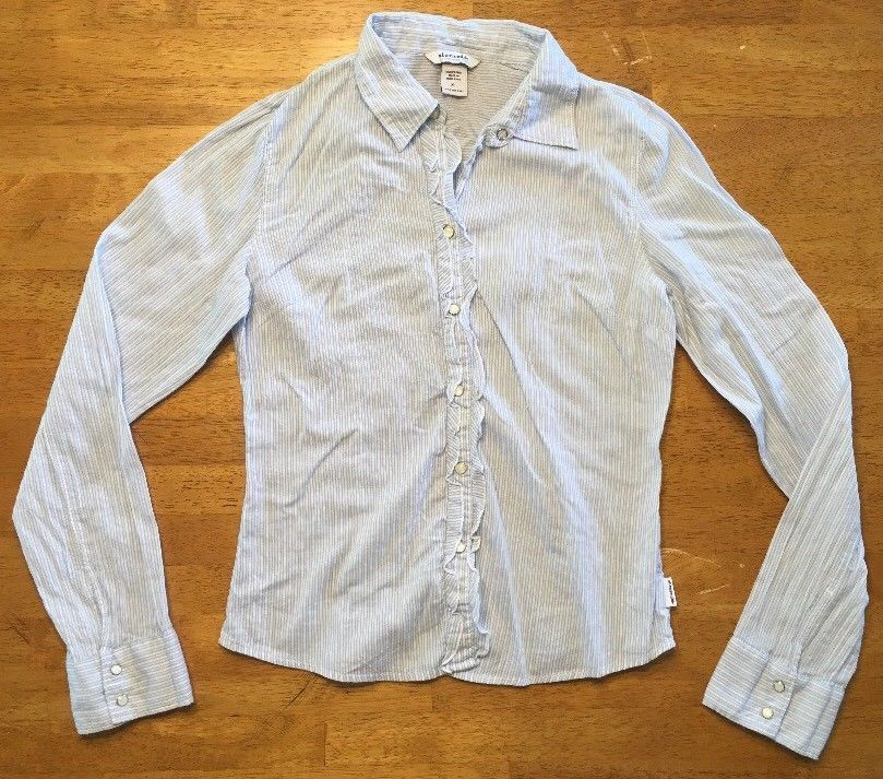 Abercrombie Girl's Blue & White Striped Long Sleeve Dress Shirt - Size XL