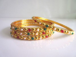 Indian Ethnic Gold Tone 4 PS Bangles Set Women's Wedding Traditional Jewelry 2.6 - $9.89