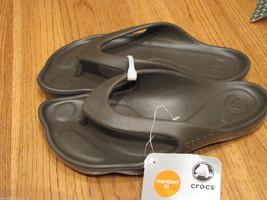 Womens crocs ABF flip flop espresso sport sandal W 4 comfort deluxe thongs brn - $14.96