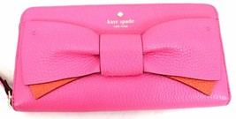 Kate Spade Eden Lane Stacy Pebbled Leather Bow Wallet in Tulip Pink NWOT... - $105.29