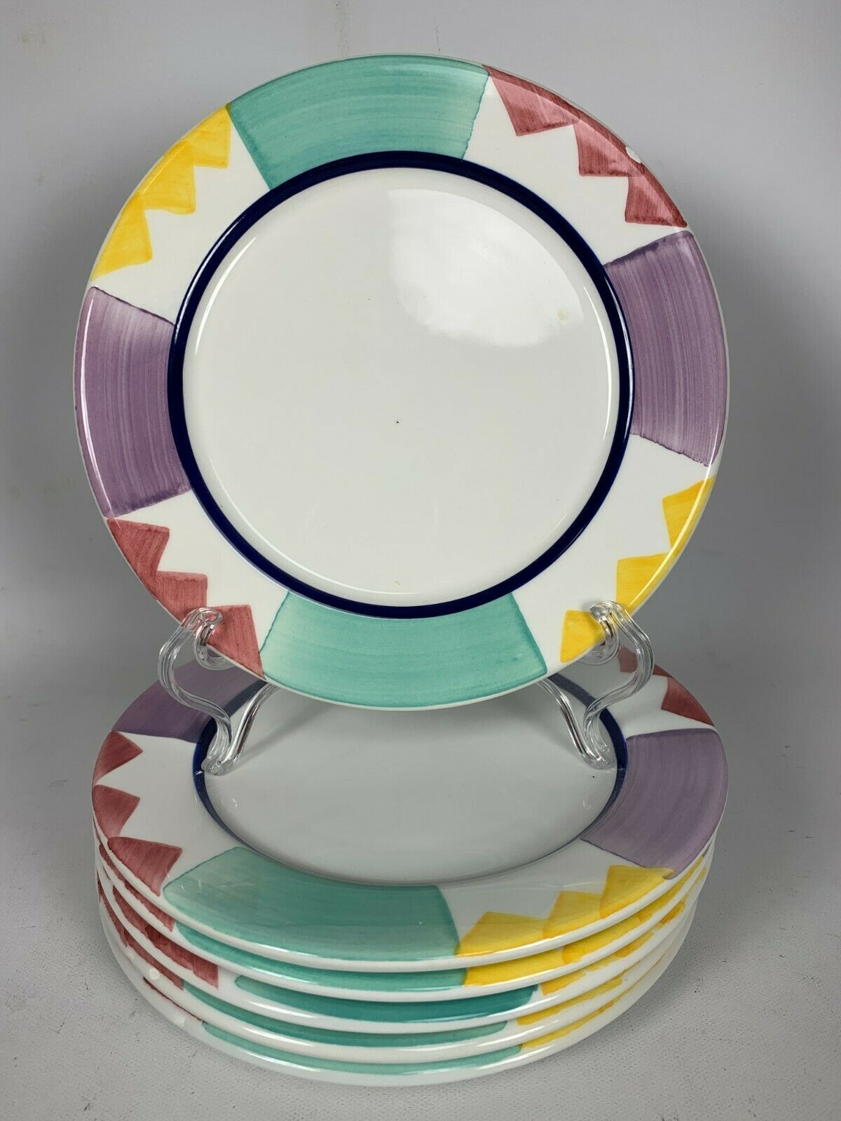 Primary image for 6 Pier One (1) Salad Plates w/ Multicolor Panels & Triangle Design ITALY 8""
