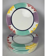 "6 Pier One (1) Salad Plates w/ Multicolor Panels & Triangle Design ITALY 8"" - $49.49"