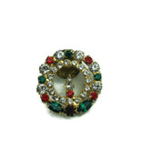 Vintage Jewelry Brooch Pin Christmas Wreath Candle Rhinestones Bling Fab... - $13.99