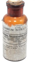 Early Amber Glass Central Scientific Cadmium Nitrate Apothecary Poison B... - $17.77