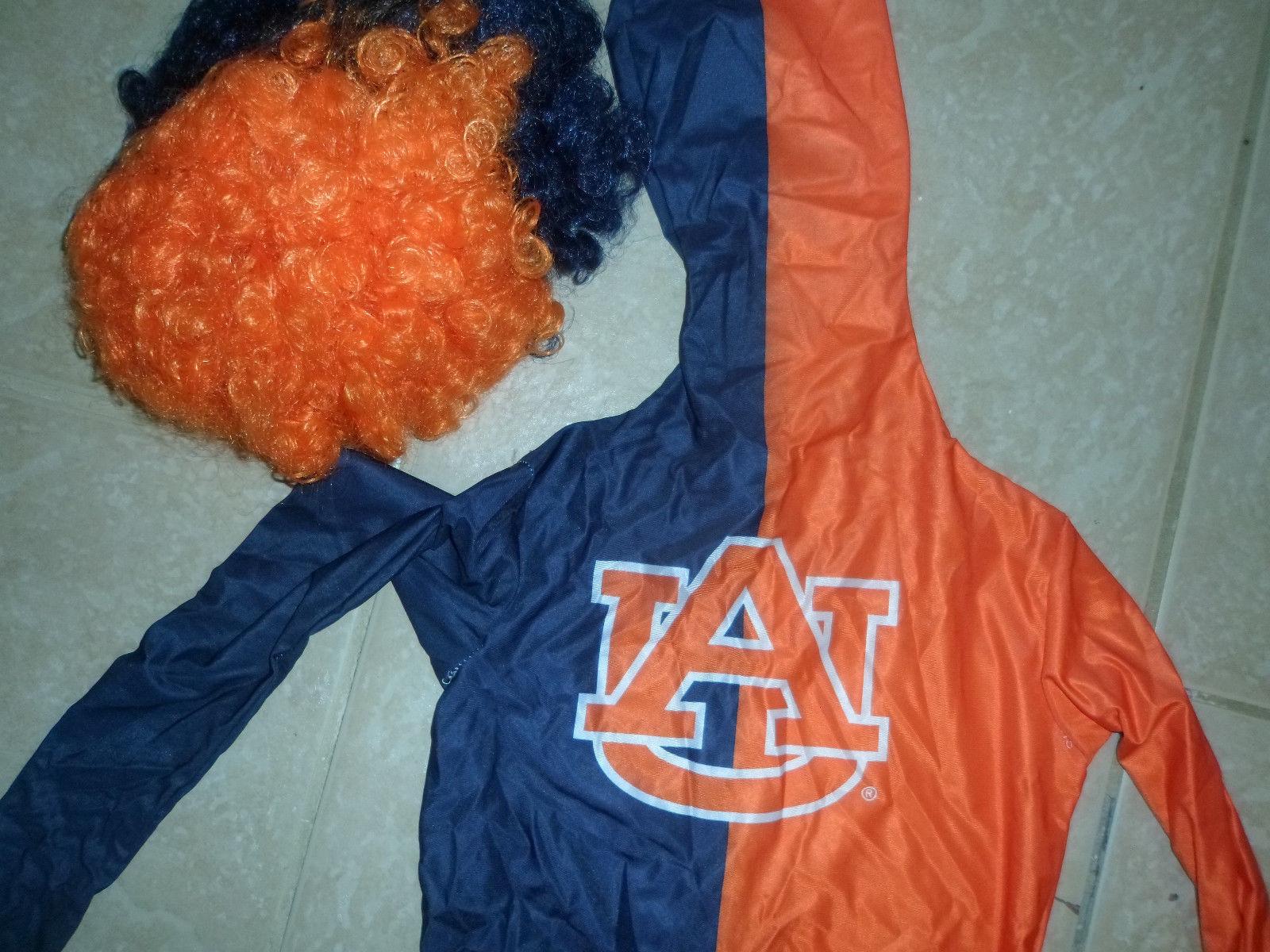 boys Paper Magic costume Alburn University child skin 10-12.orange blue w wig