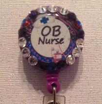 OB Nurse Badge Reel Id Holder Lanyard Swarovski Crystals Alligator Clip ... - $10.99