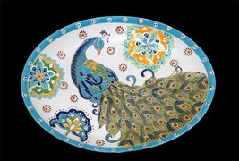 Dutch Wax Embossed Peacock Flowers Oval Platter Gorgeous Colors Handpain... - $35.99