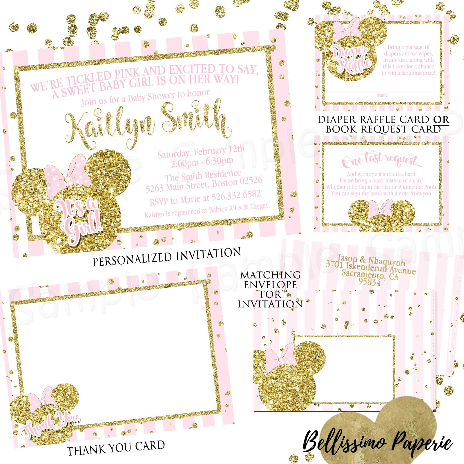 Minnie Mouse pink gold glitter Baby Shower and 50 similar items
