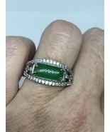 Vintage Green Jade Ring Crystal Size 9 - $54.45