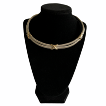 Vintage Gold Tone X Collar Necklace Silver Tone Double Cable Choker Neck... - $32.51