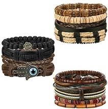 FIBO STEEL 12Pcs Leather Bracelet For Men Women Woven Cuff Bracelet Adju... - $28.02