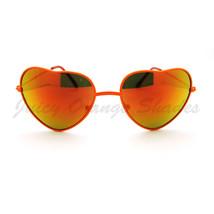 Love Heart Sunglasses Multicolor Reflective Lens Metal Frame - £6.14 GBP
