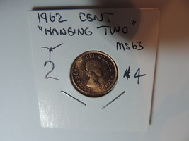 1962 hanging two  Canadian Penny coin A004 - $4.94