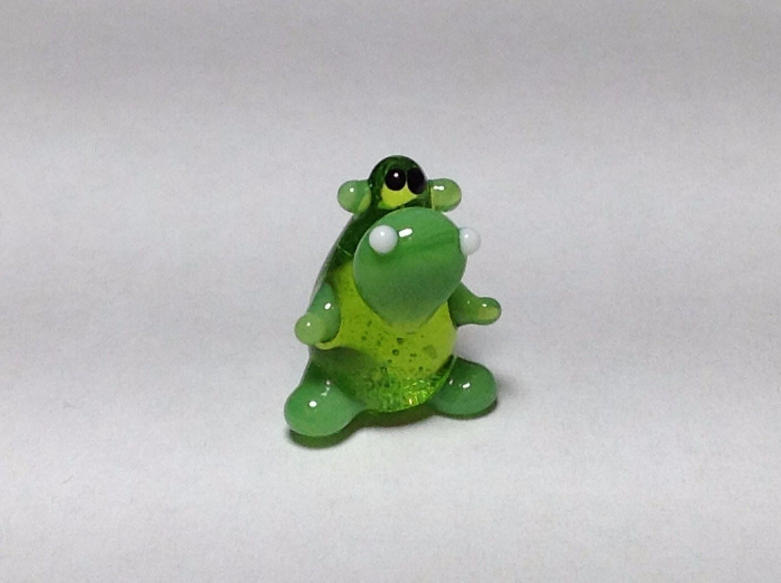 Miniature Glass green sitting  hippo Handmade Blown Glass Made USA