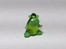Miniature Glass green sitting  hippo Handmade Blown Glass Made USA