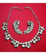 VINTAGE CLEAR RHINESTONE NECKLACE & CLIP ON SEVERINO SIGNED EARRINGS SIL... - $125.00