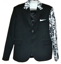 Mondo  Men's Black White Print  Fashionable Blazer Jacket Size 2XL Fit S... - $177.21