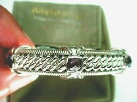 JUDITH RIPKA 925 Sterling Silver Amethyst Hinged Cuff Bracelet AVG JR Po... - $134.95