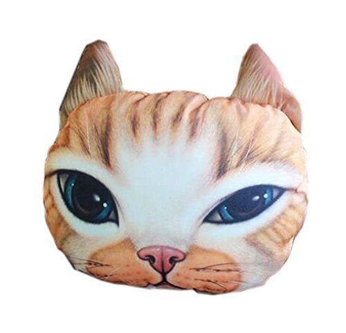 PANDA SUPERSTORE 3D Cute Pet Dogs and Cats Face Head Pillow, Exquisite Cat