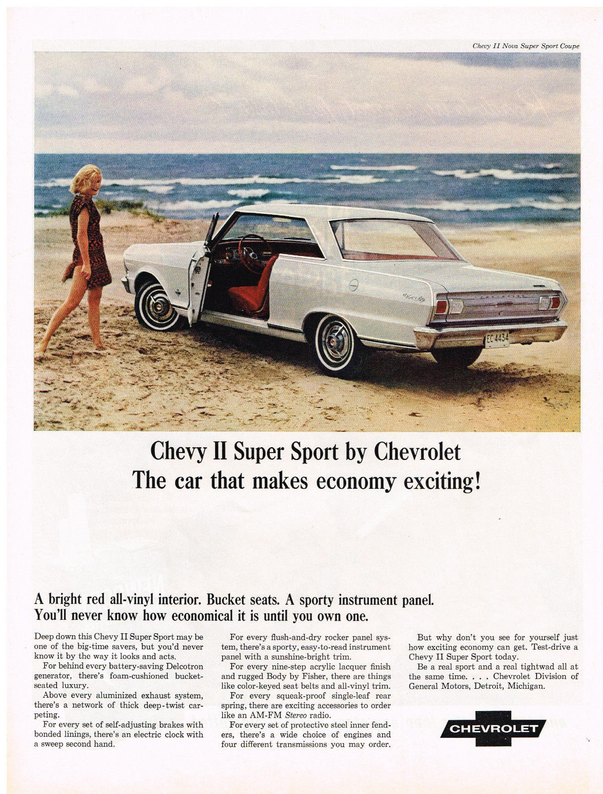 Primary image for Vintage 1965 Magazine Ad Chevrolet Chevy II Super Sport Makes Economy Exciting