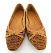 BORN Size 8 Cork Snake Print Snub Nosed Ballet Flats Shoes - $35.00