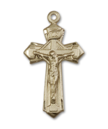 Ornate 1 5/8 x 7/8 Inch 14kt Gold Crucifix Cross Necklace Pendant - $1,499.99
