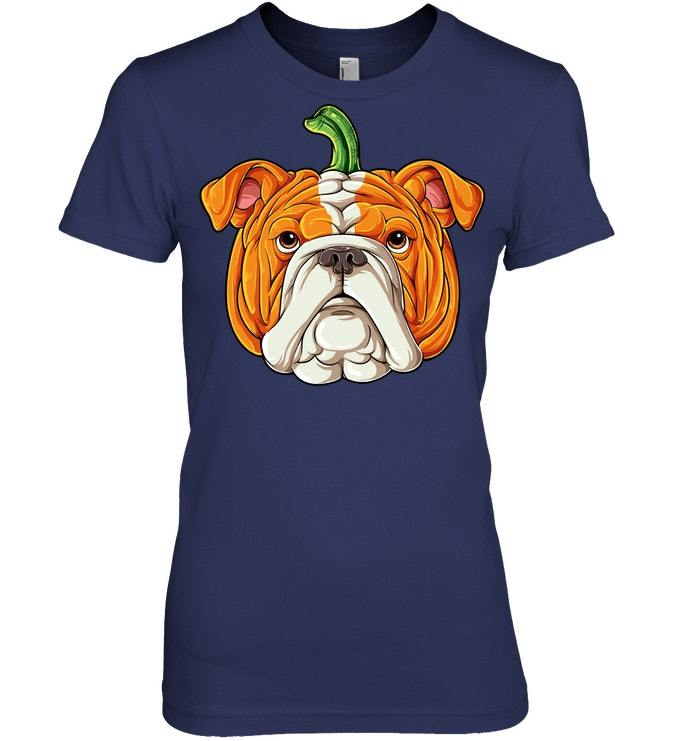 English Bulldog Pumpkin Tshirt Halloween Men Dog Costume