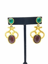 Vtg Carol Dauplaise dangle drop pierced earrings gold tone Amethyst cabo... - $29.70