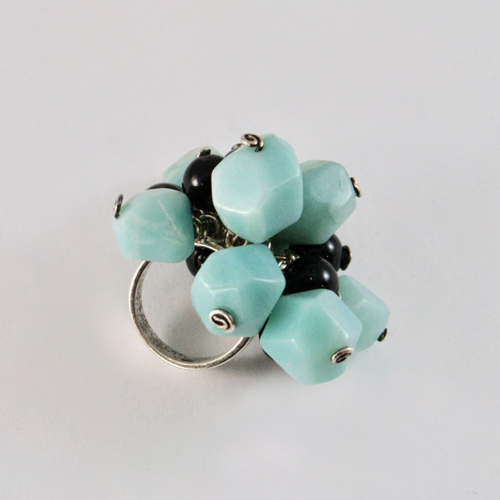 925 SILVER RING CLUSTER MUNITIONS WITH ONYX AND JASPER AND SIZE ADJUSTABLE