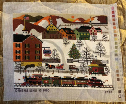 VTG Dimensions HOLIDAY TRAIN Charles Wysocki Completed Needlepoint Canvas 1980 - $49.99