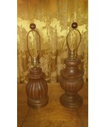 PAIR Of 1960's WOOD TABLE NIGHT STAND LAMPS WALNUT ROUND FINIALS Rustic ... - $32.55