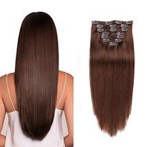 Natural Real Hair Extensions Clip in Human Hair Medium Brown Clip in Hair Extens