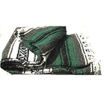 #11 Green Gray  Mexican Falsa Blanket Beach Picnic Yoga Sarape Mat Bed T... - $21.17 CAD
