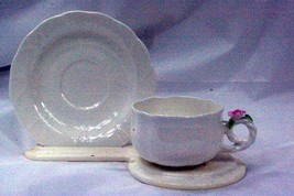Hankook 1987 Lobed Body Pink Rose Cup And Saucer Set New From The Box - $15.93