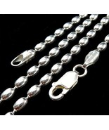 3MM Solid 925 Sterling Silver Italian OVAL EGG BEAD DOGTAG Chain Necklac... - $27.84+
