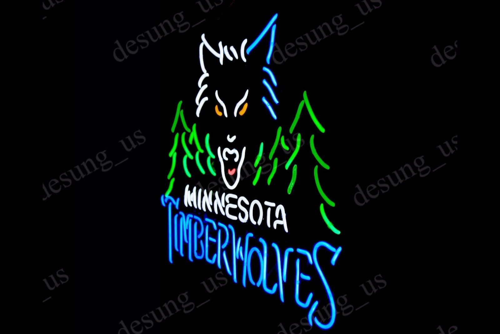 "New Minnesota Timber Wolves Logo Neon Sign 24""x20"" Ship From USA"