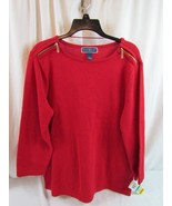 NWT Karen Scott Solid Crew Neck Sweater L Red Amore Zipper Shoulder Org ... - $27.54