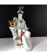 GEISHA PORCELAIN STATUE Asian sculpture figurine antique Japan gold trea... - $445.50