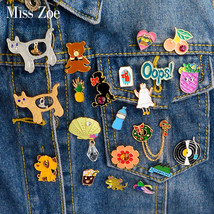Cartoon Compilation Cat dog tiger bear rabbit Oops Vinyl Record shell Brooch Pin - $7.58