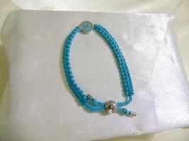 Michael Kors Silver Tone Blue Macrame Logo Slider Bracelet R544 $85 - $49.91