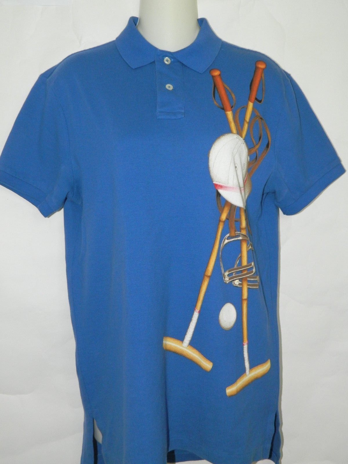 c9235ae13fb239 VTG Polo Ralph Lauren Fit Shirt Blue Equestrian Mallet Helmet Stirrups Sz  Small