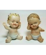 Vintage Lego Crying Cry Babies Diapers Salt & Pepper Shaker Set Boy Girl - $24.70