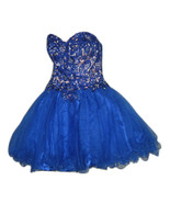 LET'S Dress sz XS Beads Rhinestone Blue Quinceanera Pagent Prom Formal S... - $46.99