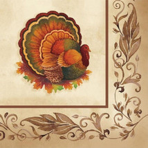 Thanksgiving Traditional Feast Turkey 16 Lunch Luncheon Napkins Banquet - $3.49