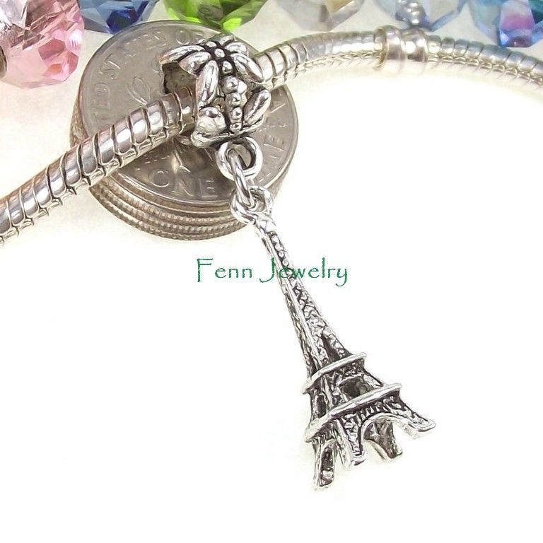 Eiffel Tower Windmill Locomotive Train Landmark Bead for European Charm Bracelet